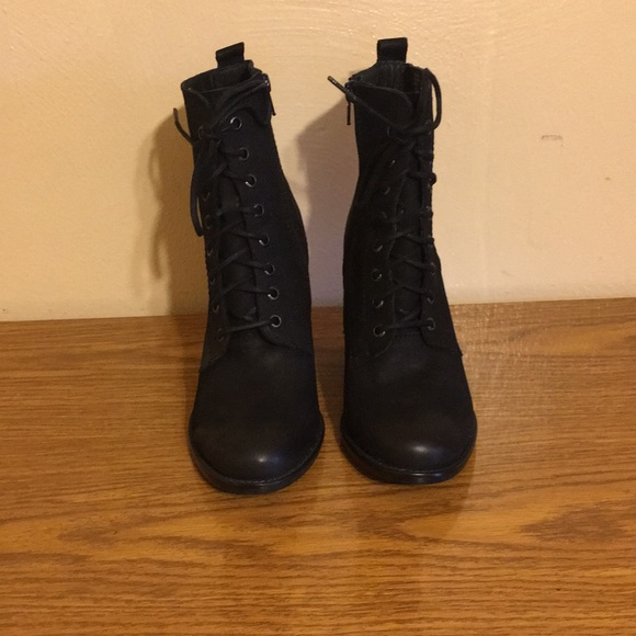 Steve Madden Black Lace Up Ankle Boots