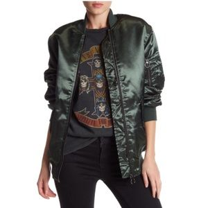 [Topshop] Satin Zip Up Bomber Jacket
