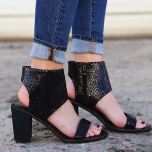 Black Croc Embossed Peep Toe Sandal