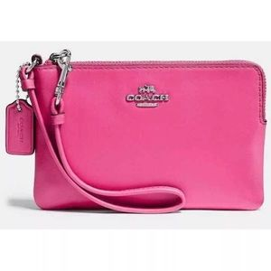 Coach smooth leather wristlet in Dahlia Pink