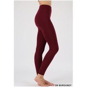 Pants - Dark Burgundy Seamless Fleece Leggings