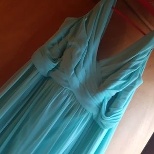 David's bridal elegant turquoise dress