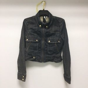 Bcbgmaxazria denim cropped jacket