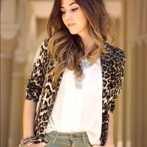 Silence + Noise lined leopard blazer.