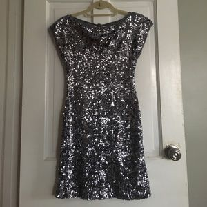 Asos Silver / Gunmetal Gray Sequin Dress