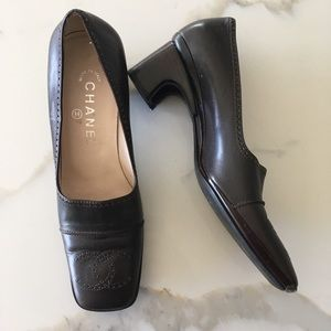 CHANEL ~ brown leather CC square toe loafer