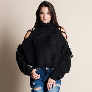 Lace Up Sleeve Turtleneck Sweater