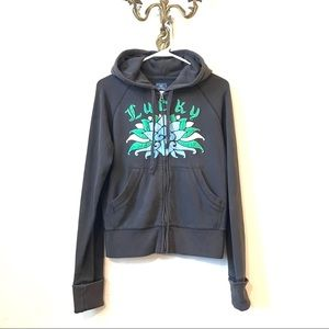 🍀LUCKY BRAND🍀 Gray Faded-Look Embroidered Hoodie