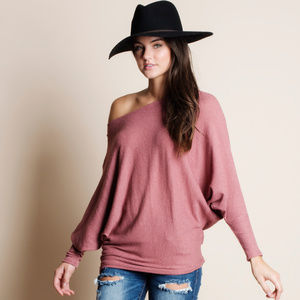 Slouchy Off Shoulder Top PINK