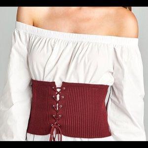 Tops - Burgundy knit corset