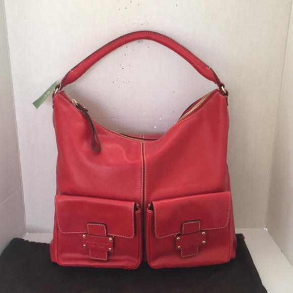 73a953d805953 New Kate Spade flat Serena Narragansett red hobo