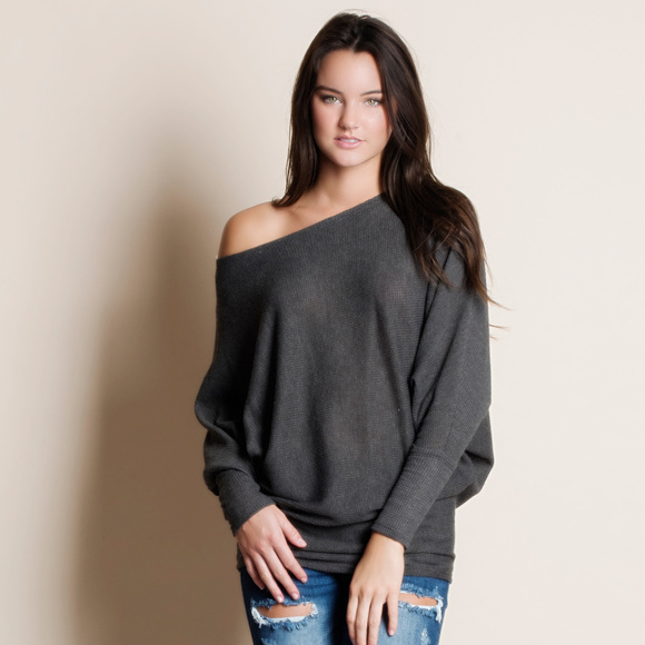 3d006360c19e37 Slouchy Off Shoulder Top CHARCOAL