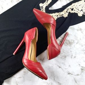 LAMB Red Leather Pointed Pump Heels
