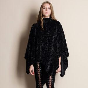 Soft Faux Fur Poncho BLACK