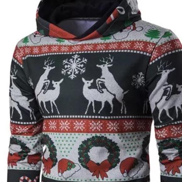 2520545a Shirts | Xxl Humping Deer Ugly Christmas Sweater Hoodie | Poshmark