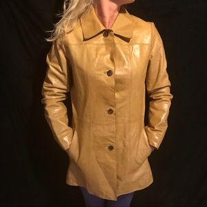 Andrew Marc 3/4 length leather coat. Camel color