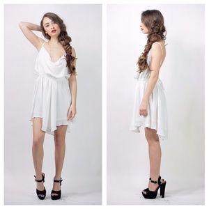 Cowl neck mini white dress looks like Indah Tahani