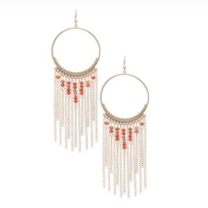 Gold circle chain and bead fringe drop earrings