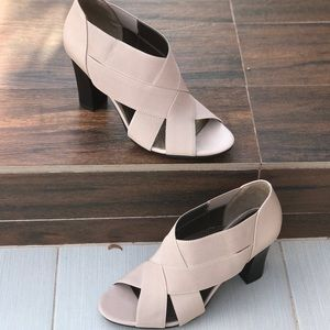 Chic Cream Cross Woven Peep Toe Shootie