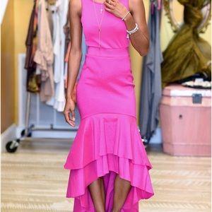 Hot pink holiday ruffled maxi dress