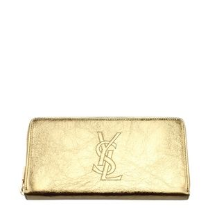 Yves Saint Laurent Gold Leather Wallet 138179