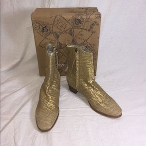 Gold Free People London Calling Ankle Boots 38/8