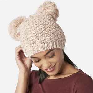 Accessories - | blush double pom beanie |