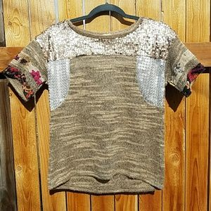 Knit and sequin anthropologie tee