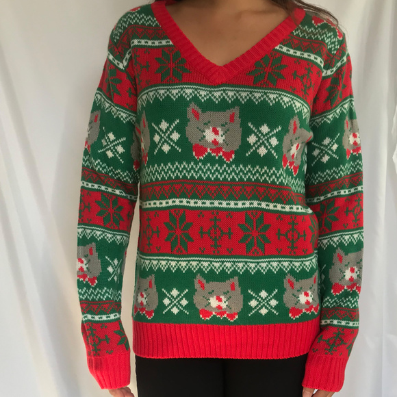 NWOT Ladies Ugly Christmas Sweater , Cats NWT