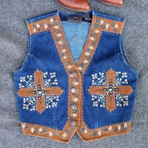 Don't Mess With Texas Embellished Denim Vest