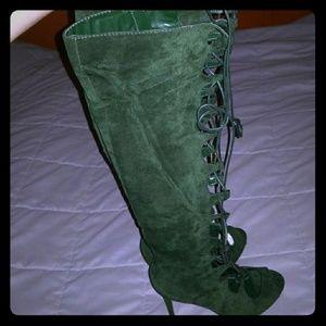 Green tie up heels