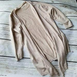 Zara knit beige cardigan sweater size L 3/4 sleeve
