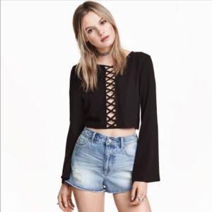 H&M Coachella Black Boho Hippie Crop Top Size 6