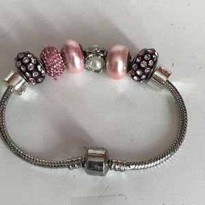 "European Large Whole Bead Bracelet Pink 7 1/4"""