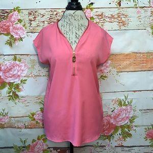 Michael Kors Pink Zipper Blouse
