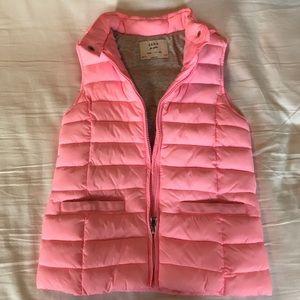 Zara girls pink puffer vest