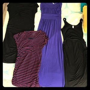 EUC maternity cotton dresses, small, 4pc bundle