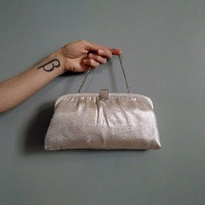 vintage 50's metallic fabric clutch in silver