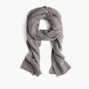 J. Crew Cable Knit Scarf Gray XS S M L