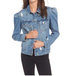NWOT BP Puff Sleeve Distressed Denim Jacket
