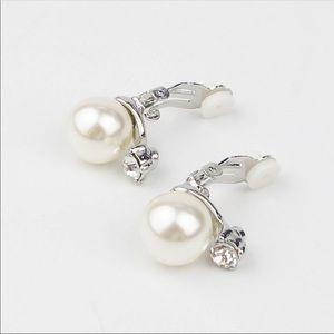 Brand new pearl diamond jewel clip on earrings