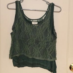 UO forest green tank with lace on top