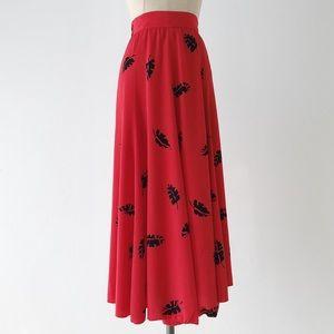 VINTAGE | 80s Red Floral Midi Skirt
