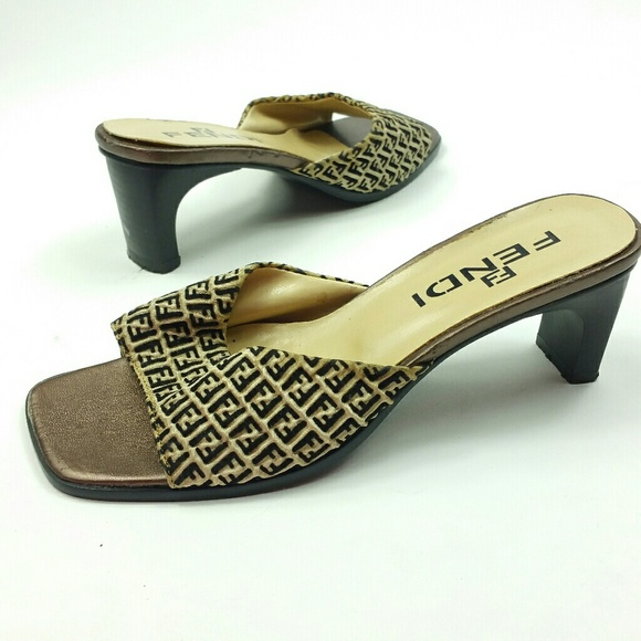 3d36e33120cc Fendi Shoes   Heeled Slides Vintage Size 36 Monogram Brown   Poshmark