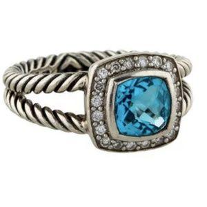 David Yurman Petite Albion Ring with Blue Topaz