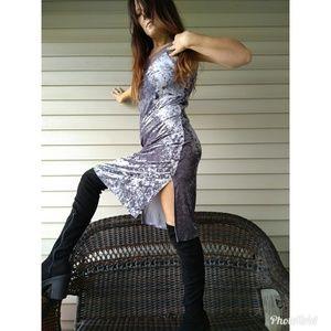 Dresses & Skirts - Crushed velvet midi slip with mesh trim