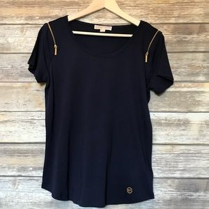 True Navy Michael Kors blouse with gold zippers