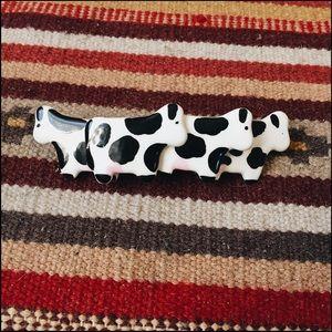 Vintage Ceramic Cow Hair Clip