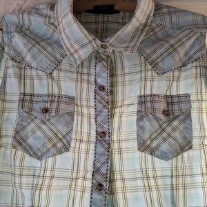 Ariat western button up sleeveless shirt size M