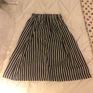 Navy and White Stripe J Crew Skirt Sz. 0